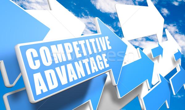 Competitivo ventaja 3d azul blanco flechas Foto stock © Mazirama