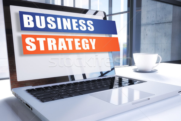 Estratégia de negócios texto moderno laptop tela escritório Foto stock © Mazirama