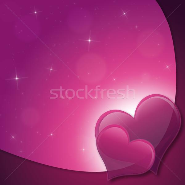 Sevgililer günü kart kalpler Yıldız pembe mor Stok fotoğraf © Mazirama