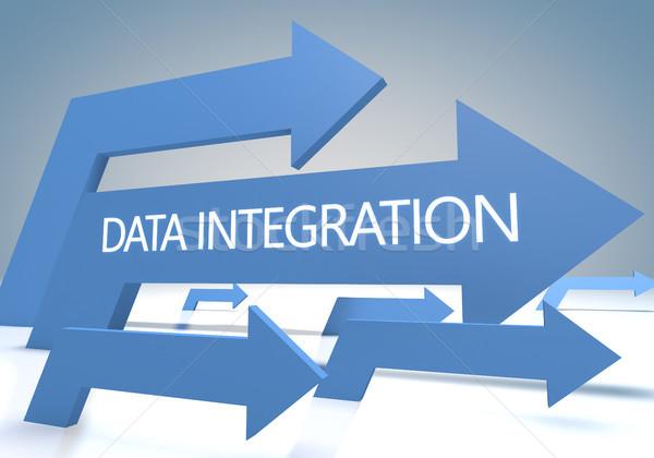 Adat integráció 3d render kék nyilak számítógép Stock fotó © Mazirama