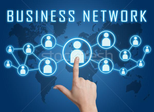 Бизнес-сеть стороны социальной иконки синий Сток-фото © Mazirama