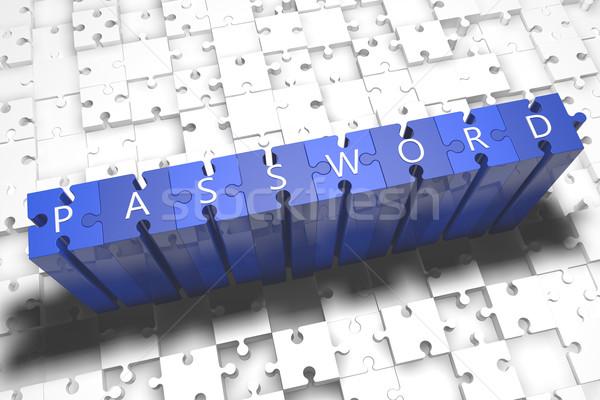 Mot de passe puzzle rendu 3d illustration lettres bleu Photo stock © Mazirama