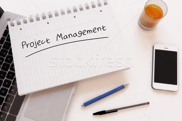 Projet gestion texte portable bureau Photo stock © Mazirama
