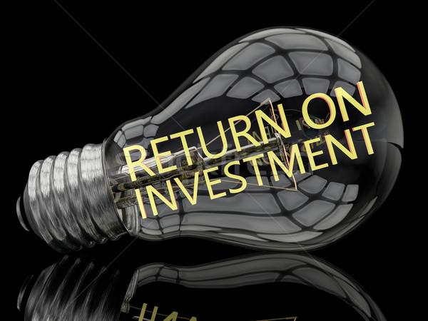 Voltar investimento lâmpada preto texto 3d render Foto stock © Mazirama