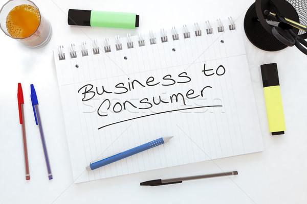 üzlet fogyasztó kézzel írott szöveg notebook asztal Stock fotó © Mazirama