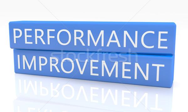 Performans gelişme 3d render mavi kutu metin Stok fotoğraf © Mazirama