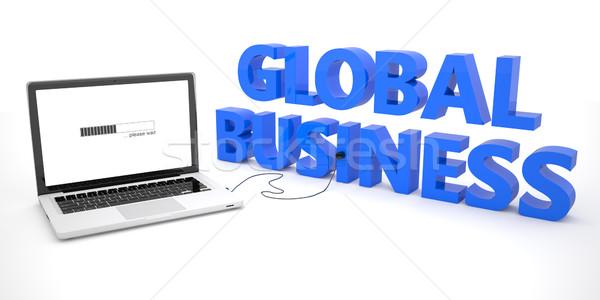 Commerce mondial portable portable ordinateur mot blanche Photo stock © Mazirama