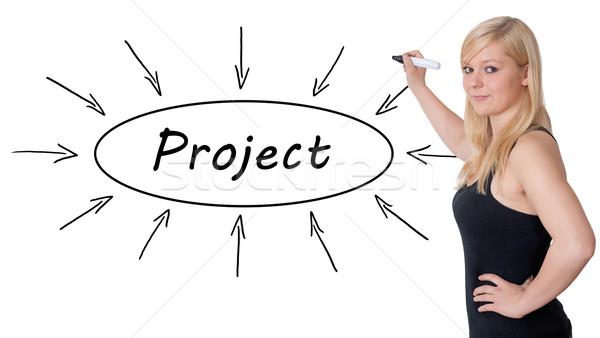 Projet jeunes femme d'affaires dessin informations Photo stock © Mazirama