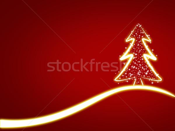 рождественская елка Рождества красный снега кадр Сток-фото © Mazirama