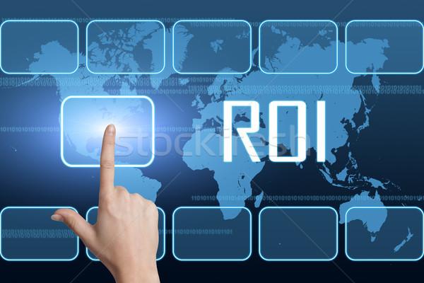 Rückkehr Investitionen Schnittstelle Weltkarte blau Business Stock foto © Mazirama