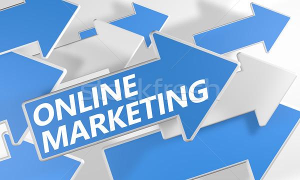 Интернет маркетинг 3d визуализации синий белый Стрелки Flying Сток-фото © Mazirama