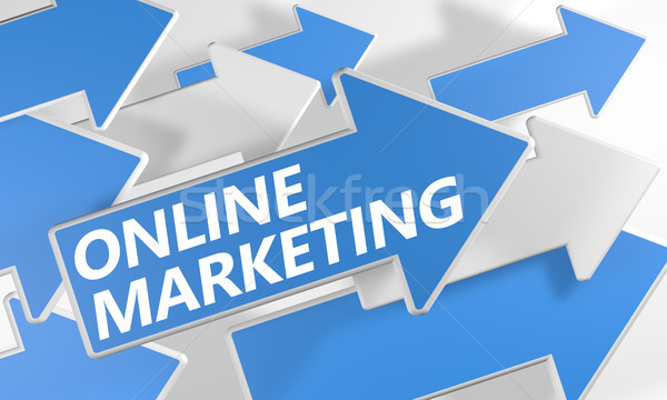 Online marketing 3d render Blauw witte pijlen vliegen Stockfoto © Mazirama