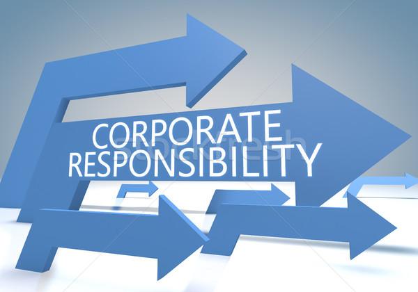 Corporate responsabilità rendering 3d blu frecce segno Foto d'archivio © Mazirama