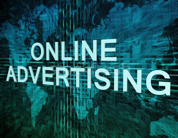 онлайн реклама текста зеленый цифровой Мир карта Сток-фото © Mazirama