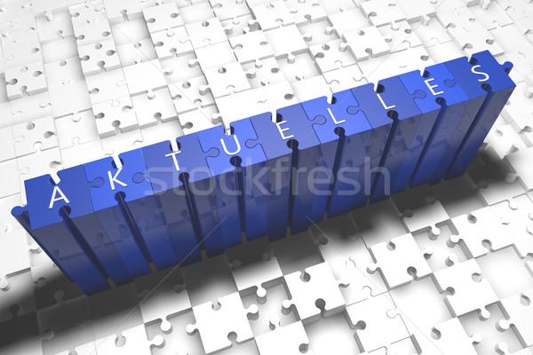 Palavra notícia atual quebra-cabeça 3d render ilustração Foto stock © Mazirama