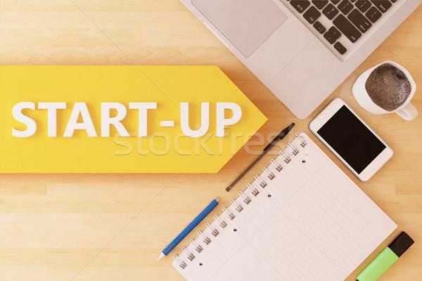Startup lineair tekst pijl notebook smartphone Stockfoto © Mazirama