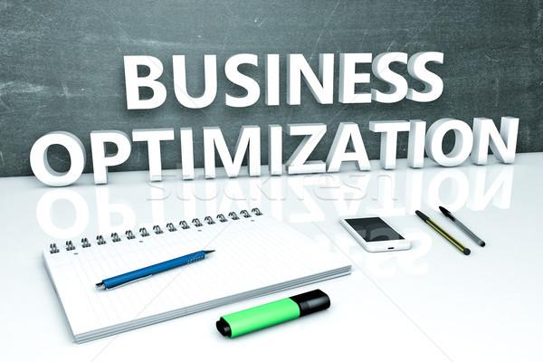 Negocios optimización texto pizarra cuaderno plumas Foto stock © Mazirama