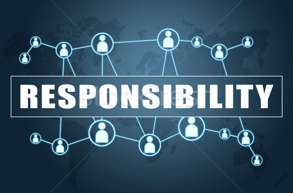 Responsabilidad texto azul mapa del mundo social iconos Foto stock © Mazirama