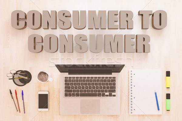 Consumatore testo notebook computer smartphone penne Foto d'archivio © Mazirama