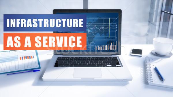 Infra-estrutura serviço texto moderno laptop tela Foto stock © Mazirama