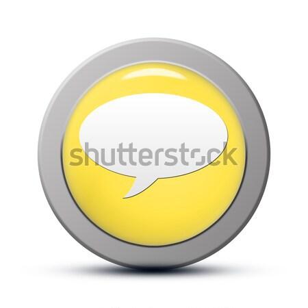 Sohbet ikon sarı düğme temas web Stok fotoğraf © Mazirama