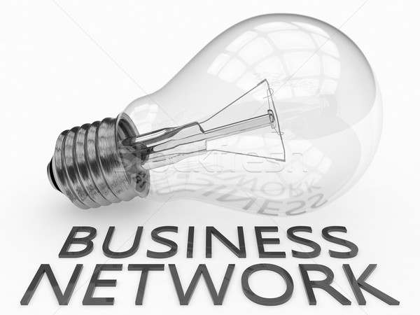 Business network żarówka biały tekst 3d ilustracja Zdjęcia stock © Mazirama