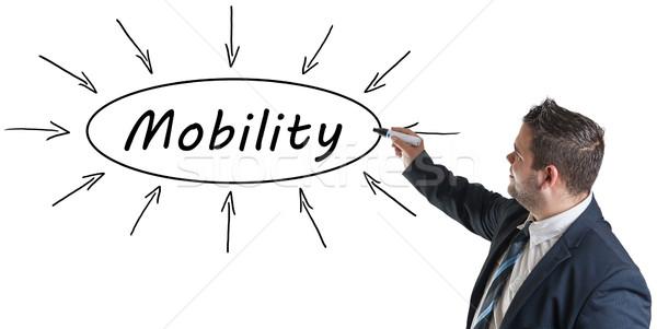 モビリティ 小さな ビジネスマン 図面 情報 ホワイトボード ストックフォト © Mazirama