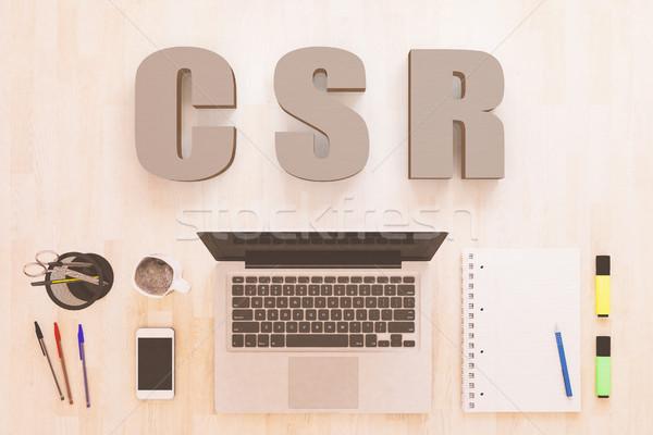 корпоративного социальной ответственность текста ноутбук компьютер Сток-фото © Mazirama