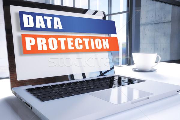 データ保護 文字 現代 ノートパソコン 画面 オフィス ストックフォト © Mazirama
