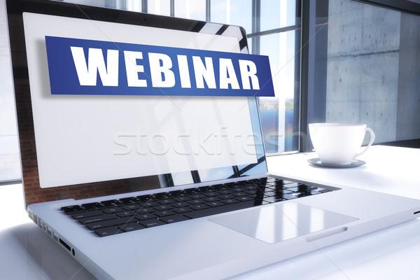 Webinar szöveg modern laptop képernyő iroda Stock fotó © Mazirama