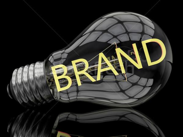 Marca lampadina nero testo rendering 3d illustrazione Foto d'archivio © Mazirama