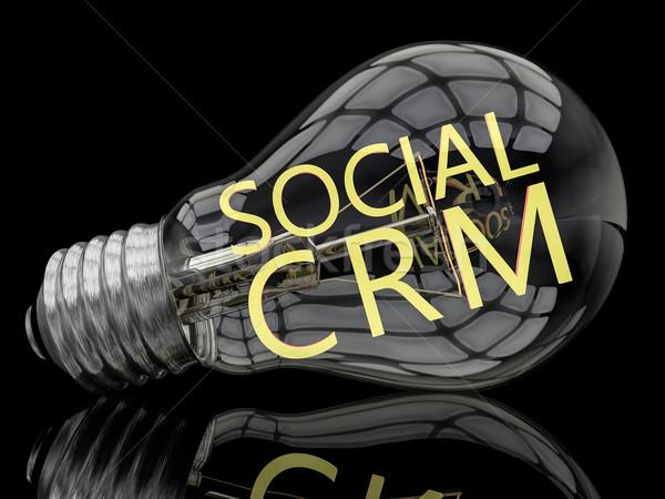 Sociale crm lampadina nero testo rendering 3d Foto d'archivio © Mazirama