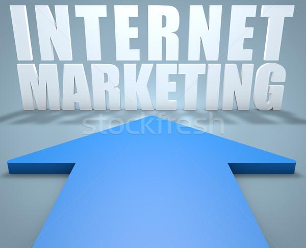 Internet marketing 3d render kék nyíl mutat technológia Stock fotó © Mazirama