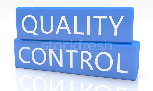 Kwaliteitscontrole 3d render Blauw vak tekst witte Stockfoto © Mazirama
