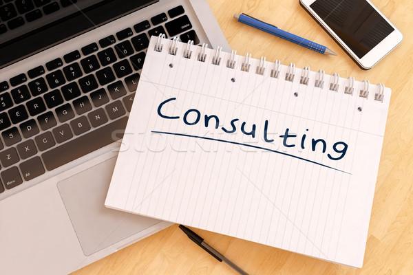 Consulting текста ноутбук столе 3d визуализации Сток-фото © Mazirama