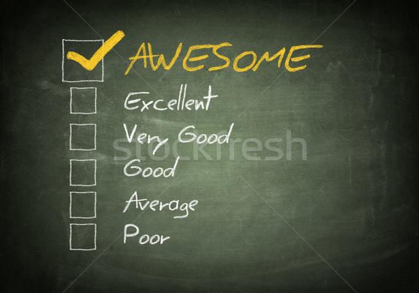 Iskolatábla értékelés jelölőnégyzet doboz siker kérdés Stock fotó © Mazirama