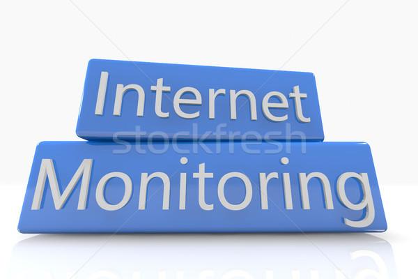 青 ボックス インターネット モニタリング 白 セキュリティ ストックフォト © Mazirama