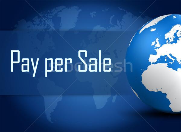 Por venda globo azul dinheiro Foto stock © Mazirama