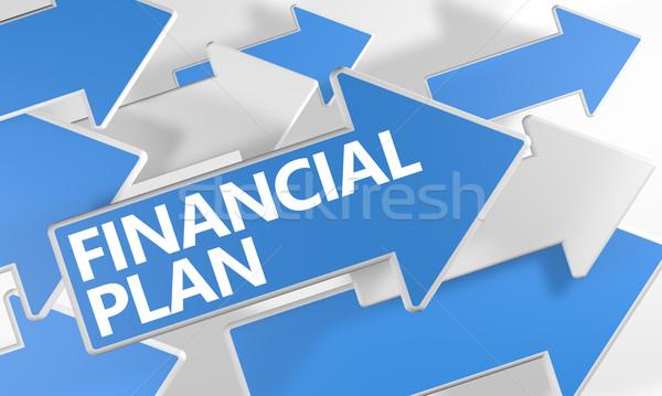 Financieros plan 3d azul blanco flechas Foto stock © Mazirama