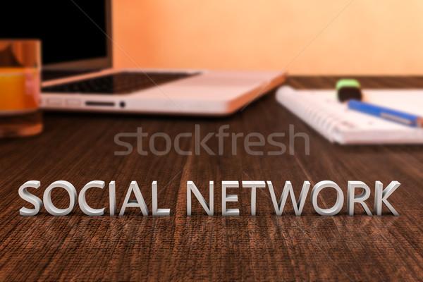Red social cartas escritorio ordenador portátil cuaderno Foto stock © Mazirama