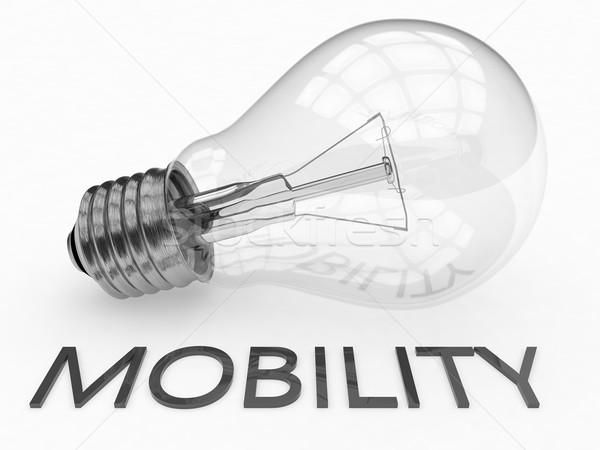 Mobilità lampadina bianco testo rendering 3d illustrazione Foto d'archivio © Mazirama