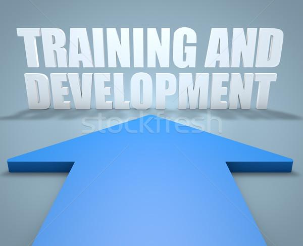 подготовки развития 3d визуализации синий стрелка указывая Сток-фото © Mazirama