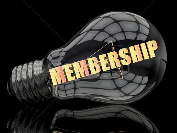 членство лампочка черный текста 3d визуализации иллюстрация Сток-фото © Mazirama