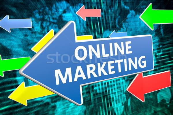 Online marketing tekst Blauw pijl vliegen groene Stockfoto © Mazirama
