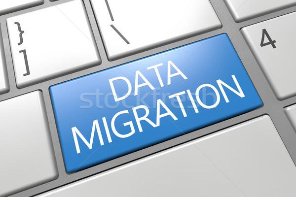 Adat vándorlás billentyűzet 3d render illusztráció szöveg Stock fotó © Mazirama