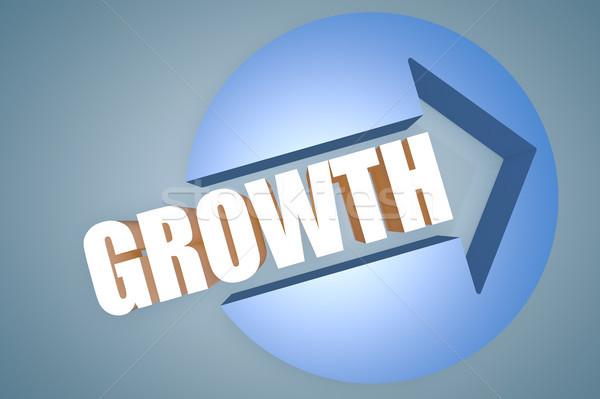 Stock fotó: Növekedés · szöveg · 3d · render · illusztráció · nyíl · kör