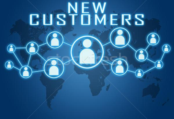 Nuovo clienti blu mappa del mondo sociale icone Foto d'archivio © Mazirama