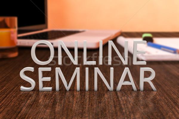 On-line seminário cartas secretária computador portátil Foto stock © Mazirama