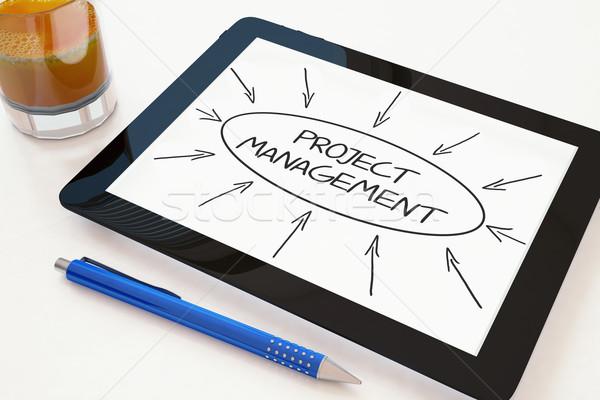 Projekt vezetőség szöveg mobil táblagép asztal Stock fotó © Mazirama