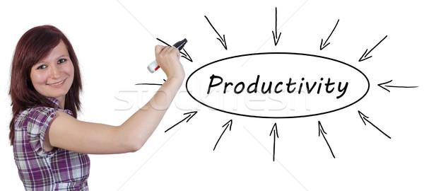 Produktivitás fiatal üzletasszony rajz információ tábla Stock fotó © Mazirama